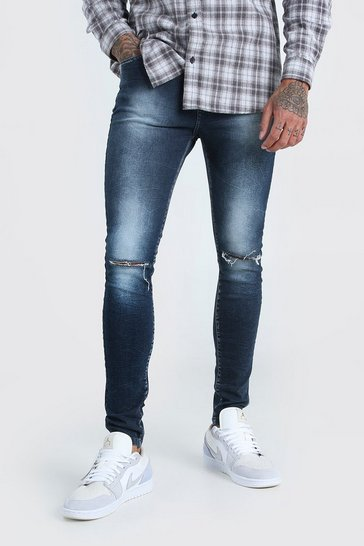 Washed indigo Spray On Skinny Jean With Knee Rip