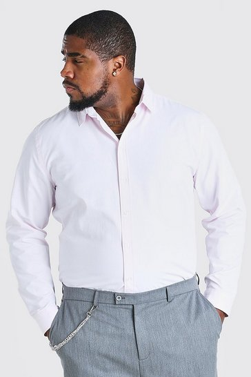 Pink Big And Tall Long Sleeve Fine Texture Shirt