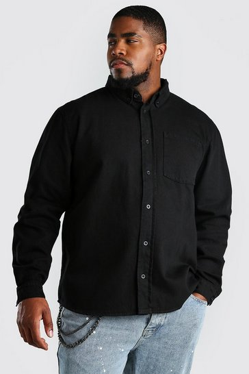 Black Big And Tall Loose Fit Cotton Overshirt