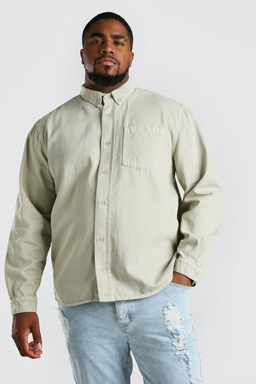 Stone Big And Tall Loose Fit Cotton Overshirt