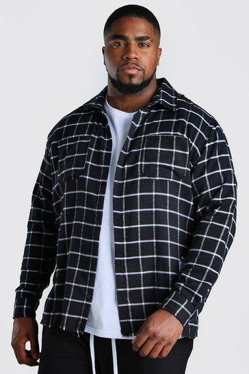 Black Big and Tall Check Shirt With Back Print