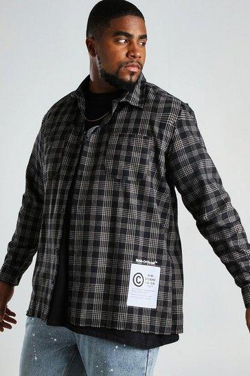 Black Big And Tall Check Shirt With Hem Print