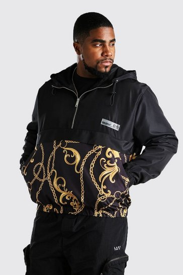 Black Big And Tall Cagoule With Contrast Chain Print
