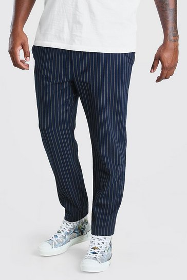 Navy Big And Tall Skinny Pinstripe Woven Jogger