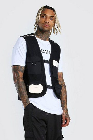 Black Reflective Pockets MAN Dash Utility Vest