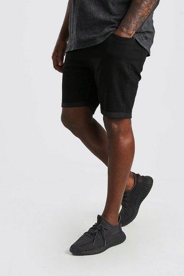 Black Big And Tall Skinny Fit Denim Shorts