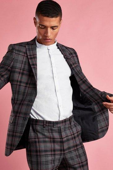 Black Skinny Contrast Check Blazer