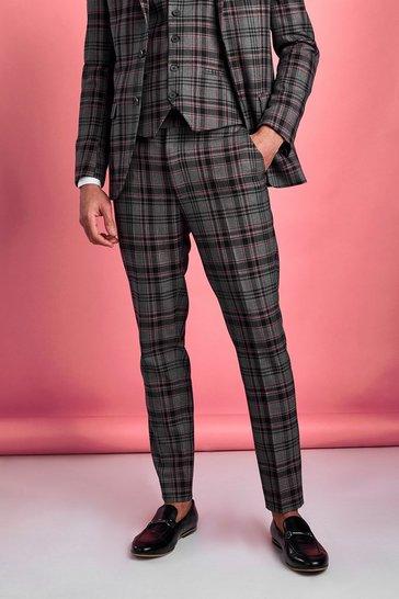 Black Skinny Contrast Check Trouser