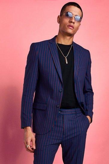 Red Skinny Bold Stripe Blazer