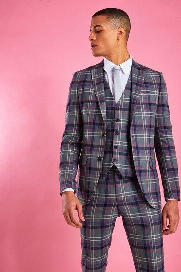 Grey Skinny Purple Check Blazer
