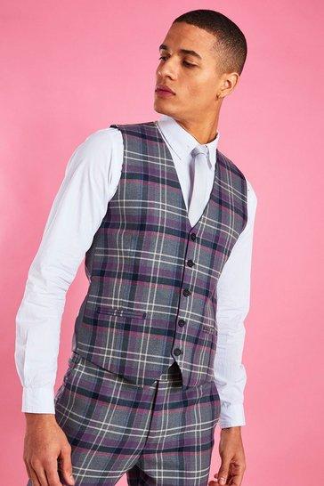 Grey Skinny Purple Check Waistcoat