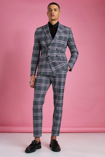 Charcoal Skinny Double Breasted Gingham Check Blazer