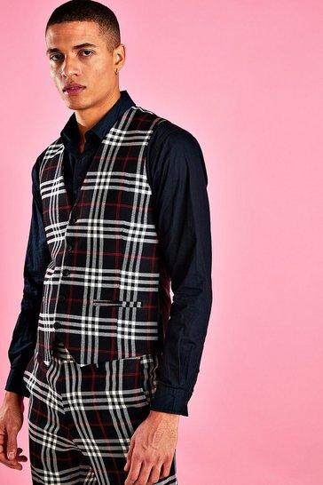 Black Skinny Contrast Check Waistcoat