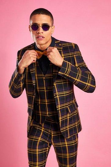 Black Skinny Bold Check Blazer
