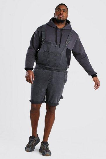 Charcoal Big And Tall Short Length Denim Dungaree