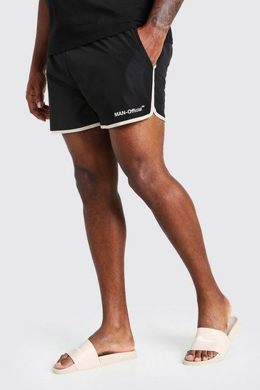 Black Big And Tall MAN Official Runner Swim Short