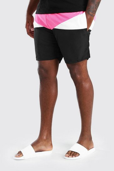 Pink Big And Tall Mid Length Colour Block Swim Short
