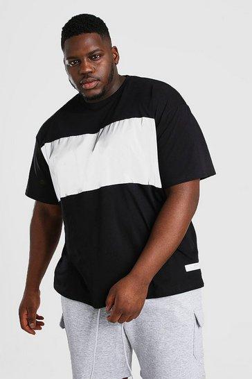 Black Big And Tall MAN Reflective Front Panel T-Shirt