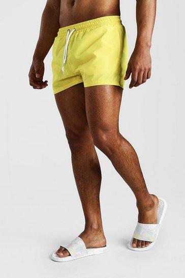 Yellow Plain Short Length Swim Shorts