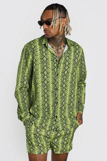 Neon-yellow Snake Print Shirt And Swim Short Set