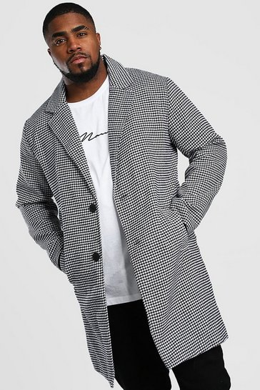 Black Big And Tall Wool Look Dogtooth Overcoat