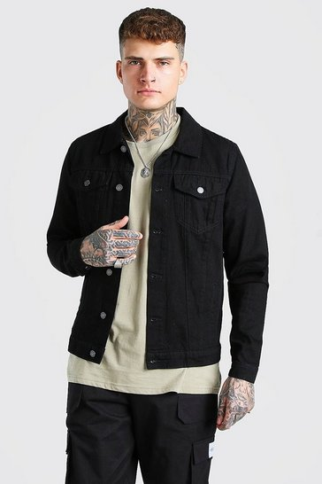 Black Regular Denim Western Jacket