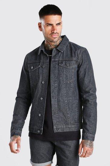 Charcoal Regular Denim Western Jacket