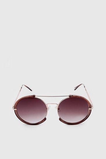 Mocha Half Frame Round Sunglasses