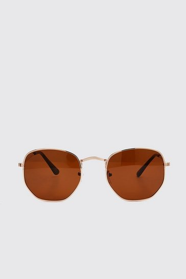 Brown Hexagon Sunglasses
