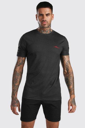 Black MAN Signature Printed Pinstripe T-Shirt