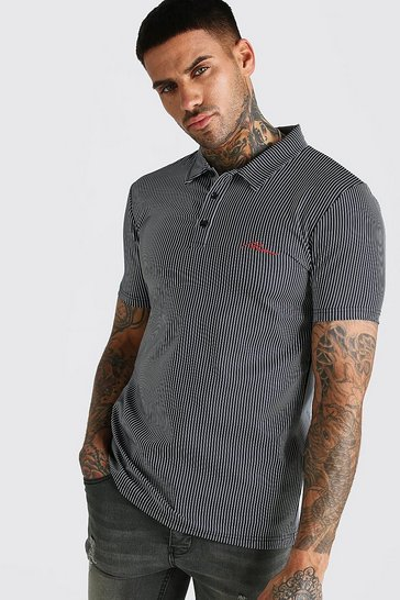 Grey Muscle Fit MAN Signature Striped Polo