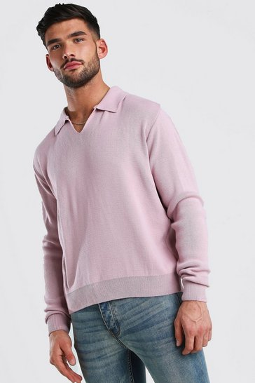 Dusky pink Long Sleeve Notch Neck Knitted Polo