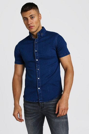 Mid blue Muscle Fit Short Sleeve Denim Shirt