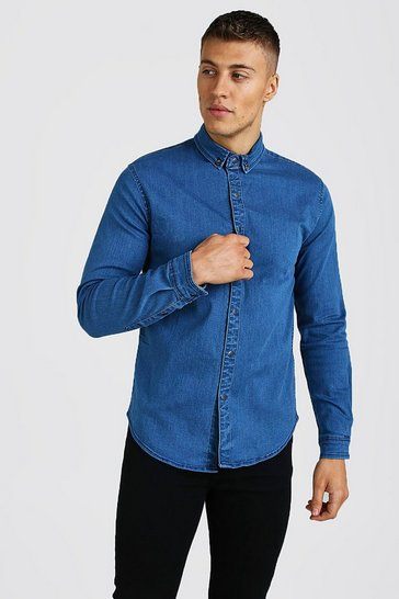 Mid blue Muscle Fit Long Sleeve Denim Shirt