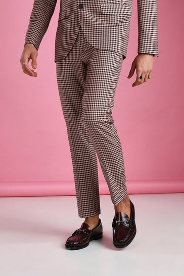 Pink Skinny Heritage Dogtooth Check Suit Trouser