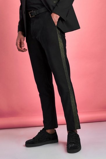 Black Skinny Metallic Prom Suit Trouser