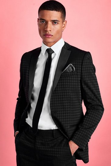 Black Skinny Tonal Dogtooth Check Suit Jacket