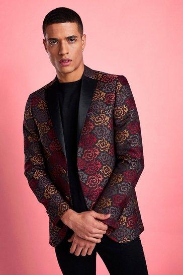 Black Skinny Floral Jacquard Prom Blazer