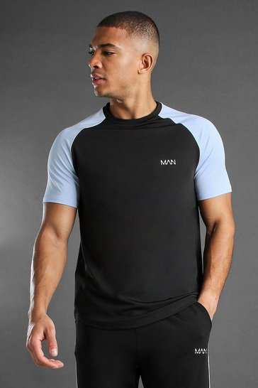 Black MAN Active Poly Raglan T-Shirt With Reflective