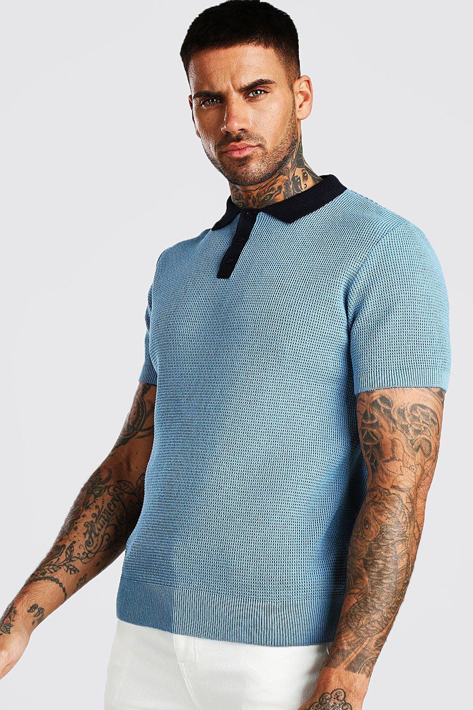 Вязанная обтягивающая рубашка-поло с контрастным воротником фото