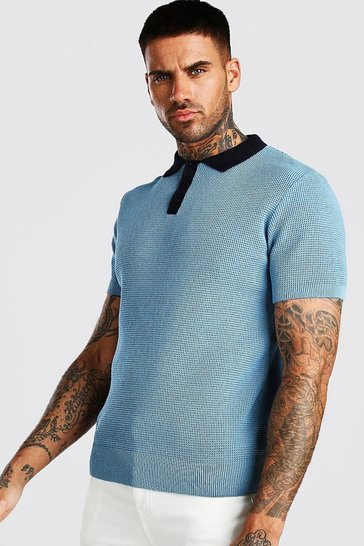 Blue Muscle Fit Knitted Polo With Contrast Collar