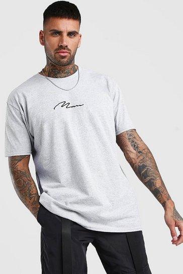 Grey Oversized MAN Signature T-Shirt