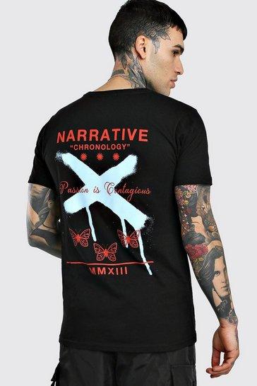 Black Butterfly Graffiti Back Print T-Shirt