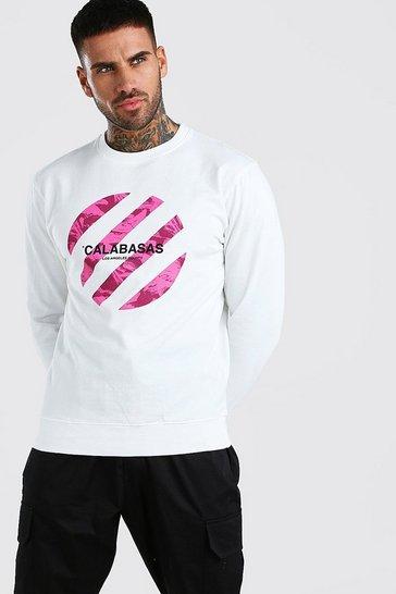 White Calabasas Print Sweatshirt