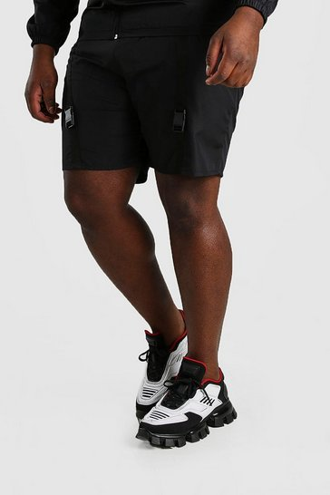 Black Big And Tall Shell Utility Shorts