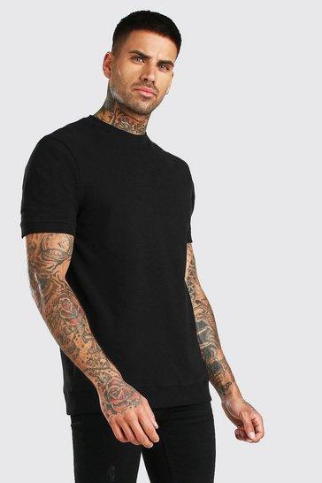 Black Short Sleeve Pique Sweatshirt