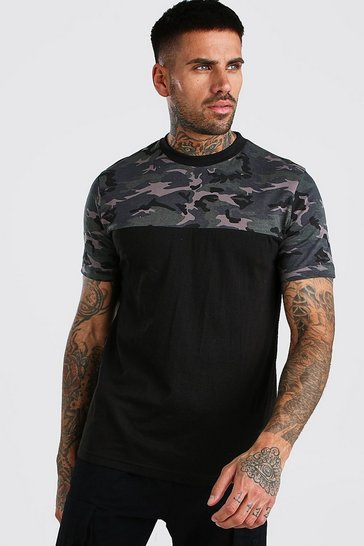 Black Camo Colour Block T-Shirt