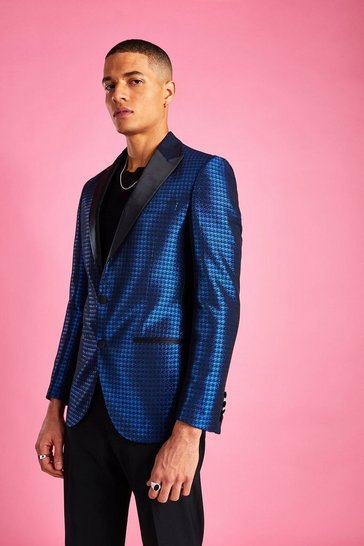 Cobalt Skinny Dogtooth Check Prom Jacket
