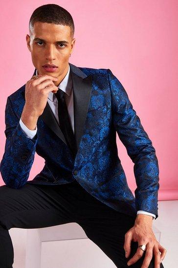 Cobalt Skinny Jacquard Prom Blazer