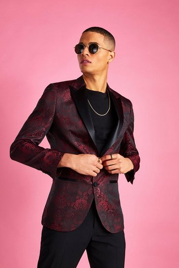 Burgundy Skinny Jacquard Prom Blazer
